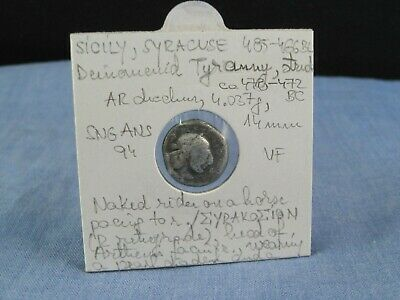 Ancient Greek Silver Coin Sicily Syracuse Ar Drachm 485-466 Bc Vf