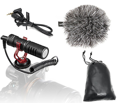 Movo VXR10 Universal Video Microphone with Shock Mount, Deadcat Windscreen, Case