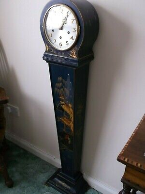 Superb Antique Art Deco Blue Chinoiserie  Westminster Chimes Granddaughter Clock