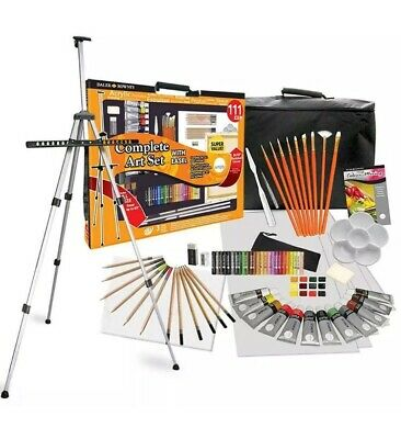 Daler Rowney 111 Piece All Media Art Studio Paint Set with Easel, Canvas,...