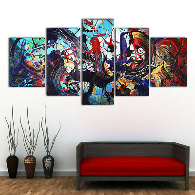 5Pcs Modern Abstract Colorful Canvas Print Paintings Home Wall Art Decor Unframe