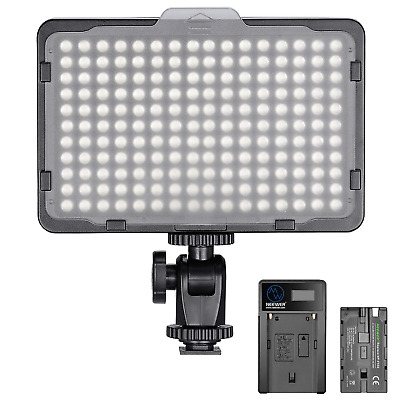 Neewer Dimmable 176 LED Video Light 5600K on Camera Light Panel with 2600mAh and