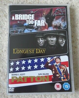 The Longest Day/ A Bridge Too Far/ Patton (DVD, 2009, 3-Disc Set)