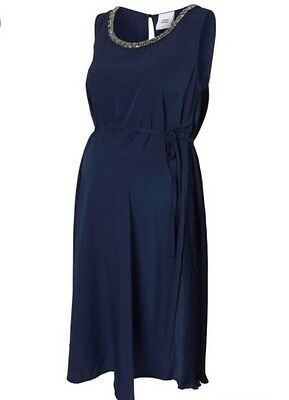 Mama-licious Maternity Uk 10 Mltitte Navy Blue Woven Party Formal Dress £55