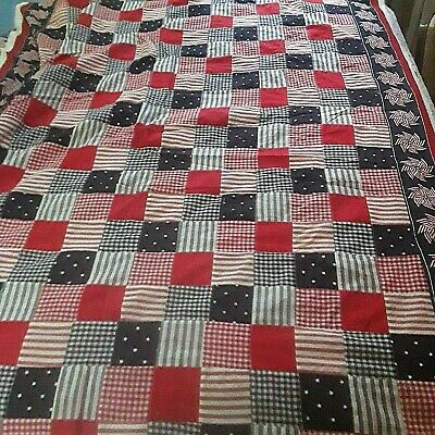 4th July Americana Handmade Pieced Quilt Top Unfinished Patriotic Red white blue