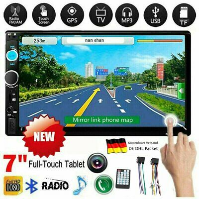 """7"""" Doppel Autoradio Stereo MP5 Player 2Din Bluetooth USB FM AUX For Android B"""