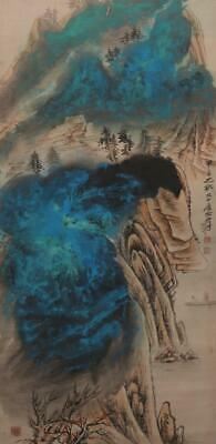 """Chinese Old Zhang Daqian Scroll Painting Landscape 74.41"""""""