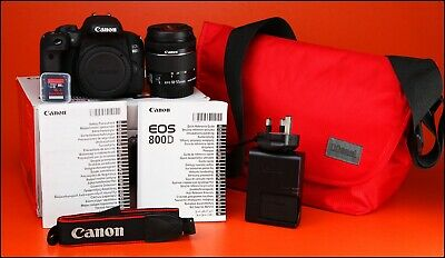 Canon EOS 800D DSLR Camera + 18-55mm Zoom Lens kit + Battery, Charger 185 Shots