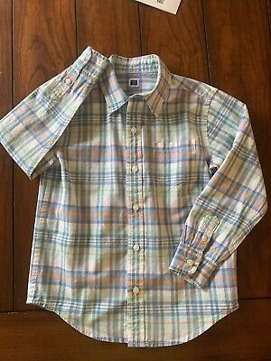 Janie & Jack Dress Shirt Toddler Boy White Blue Green Plaid 5T Button Down - EUC