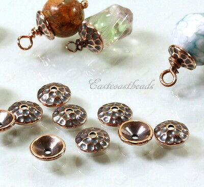 TierraCast Hammered Bead Caps, 8mm., Antiqued Copper, 10 Pieces, 6218