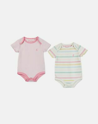 Joules Baby Snazzy 2 Pack Short Sleeve Jersey Bodysuits in SOFT PINK