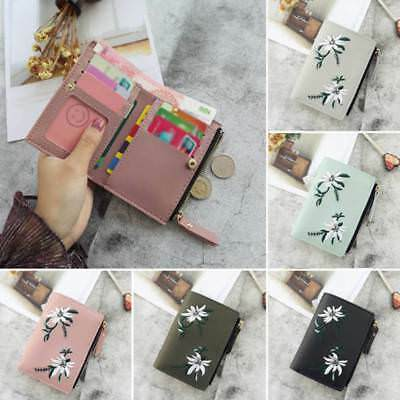 PU Leather Wallet Women Coin Bag Simple Bifold Small Handbag Embroidery Purse