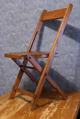 Vintage Snyder Folding Wooden Chair, Dark Oak