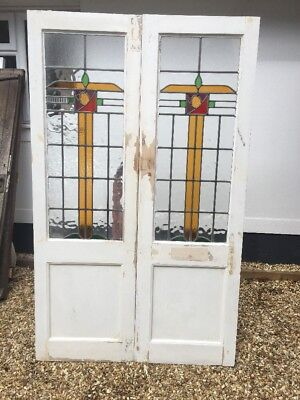 Art Deco Stained Glass Doors Antique Period Reclaimed Old French Double Leaded/2