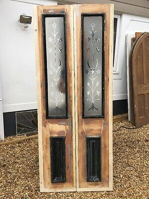 Victorian Etched Cut Glass Doors Antique Period Reclaimed Old French Wood Rare