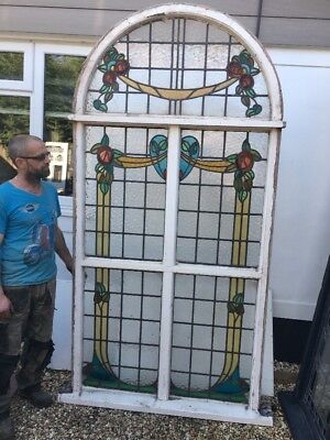V Large Arched Art Nouveau Stained Glass Window Panel Antique Period Lead Old