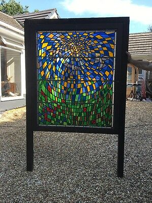 Large Stained Glass Window Panel Architectural Antique Period Lead Old Wwi