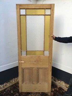 Internal Victorian Stained Glass Door Porch Reclaimed Old Antique Vestbule Pine