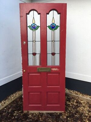 Edwardian Stained Glass Front Door Wooden Reclaimed Period Old Lead Hardwood