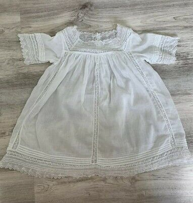 (M47;) Vinatge Lace White Baby Gown Christening Dress (no Size,6 12 18 Months??)