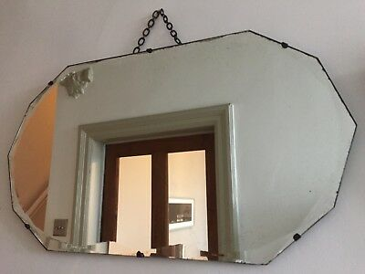 Vintage Frameless Geometric Mirror Foxed Glass Bevelled Chain LARGE 68x39cm m60