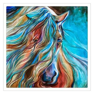 """Indian horse Oil Painting HD Print Wall Decor Art on Canvas 12x12"""" #02"""