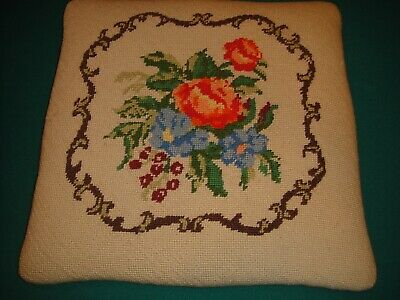 2 Vintage Needlepoint Chair Seat Covers Floral Finished