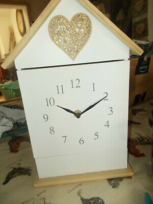 Rustic country cottage clock with integral key box , white heart detailing Bn