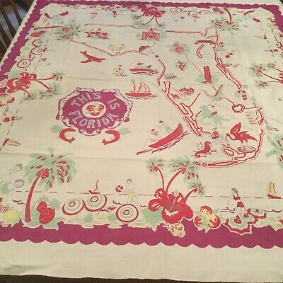 "Vintage Florida tablecloth, 50 x 46"". This Is Florida! Great graphics! MUST SEE!"