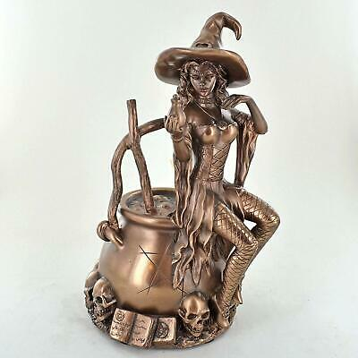 Witch Sat On Couldron Bronze Ornament 20cm