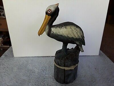 "Ceramic Pelican Water Bird 12"" Statue Figurine Decor Resin Wood Nautical Beach"