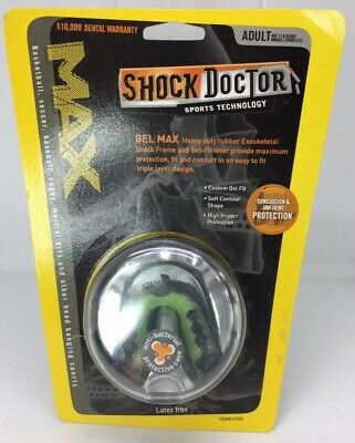 Shock Doctor Gel Max Green Adult Mouth Guard New