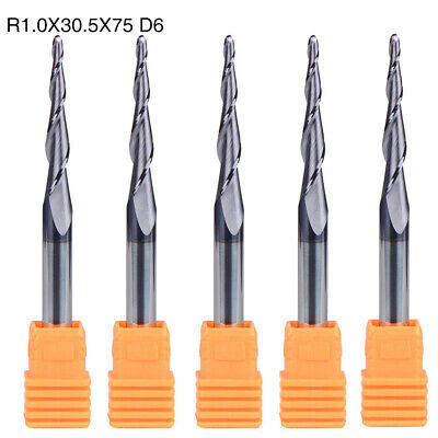 Nose End Mills 2 Flute CNC Tool Tapered HRC55 R1.0-30.5-D6 5pcs Durable