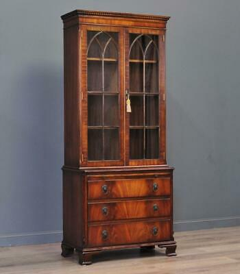 Attractive Slender Antique Style Mahogany Bookcase Over Chest Of Drawers