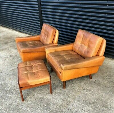 Retro Svend Skipper Twin Leather Armchairs With foot stool. 1960's