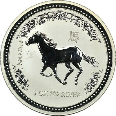 2002 Australia $1 Year of the Horse 1 oz 999 Silver Coin, Brilliant Uncirculated