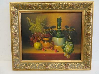 VINTAGE old PAINTING oil STILL LIFE signed