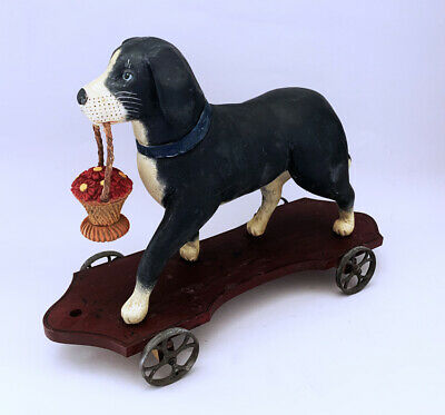 Unique Carved Wood & Painted like an Antique ~ 1986 Folk Art Dog Pull Toy