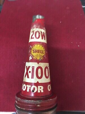 Vintage Embossed 1 Imperial Pint Oil Bottle with Shell X-100 Tin Pourer Top