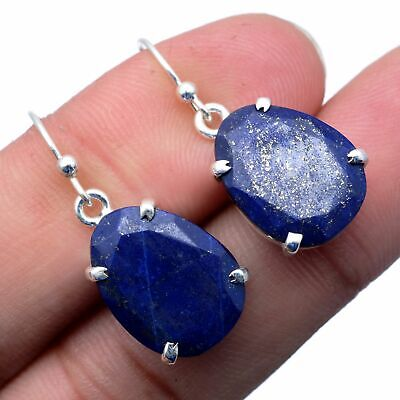Faceted-Lapis Lazuli Solid 925 Sterling Silver Earring Jewelry FSE-1212