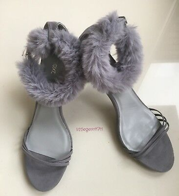 ladies Faux Fur Cuffs HIgh Heel Barely There Stiletto Strappy Sandals  SZ 8 NEXT
