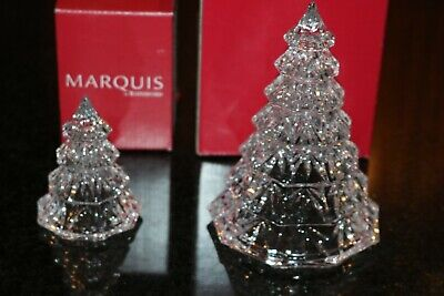 """Marquis By Waterford Crystal Clear Christmas Trees Small & Large 3.5"""" 6.5"""" Boxed"""