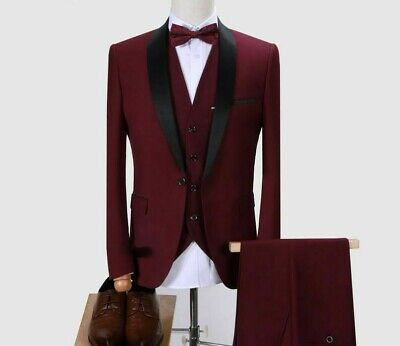 Slim Suit Set For Men's Smart Casual Single Breasted Formal Male Clothing Attire