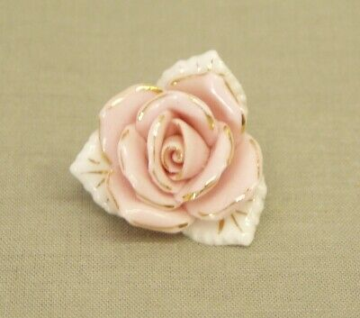 "Vintage Capodimonte Rose Brooch Pin pink white gold 1""+ wide Costume Jewelry"