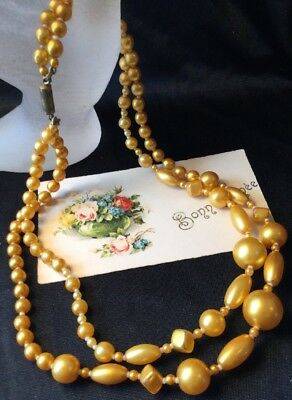 Antique Vintage Art Deco Golden yellow Glass Bead Graduated Twin Strand Necklace