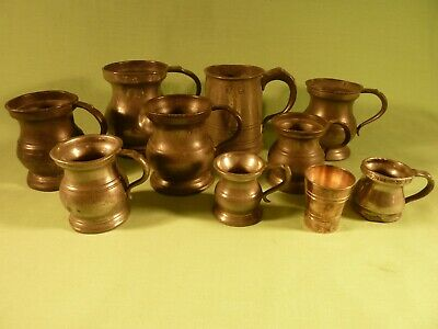 Collection Joblot 9 Pewtter Measures Tankards half Pint to 1/6 Gill