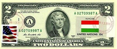 Hungary $2 Dollars 2013 Stamp Cancel Flag Of Un From Hungary Lucky Money $99.95