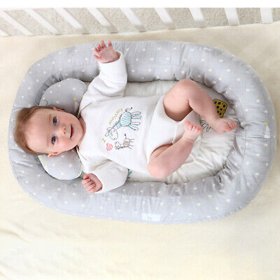 Portable Baby Newborn Bassinet Bed Soft Lounger Crib Sleep Nest With Pillow