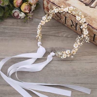 Crown Bride Headband Wedding Flower Hairband Wreath Women Hair Ribbon  TIP