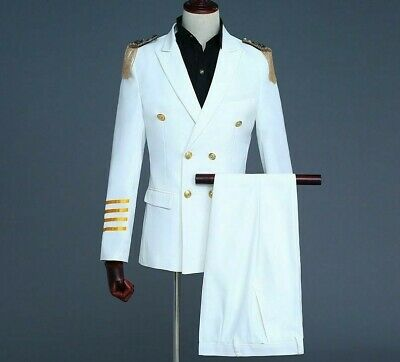 Coat Pants Suit Set For Men Captain Attire Double Breasted Formal Event Clothing